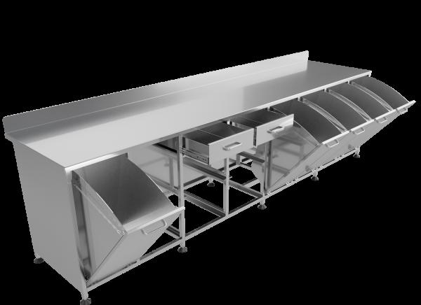 Стол для фасовки сыпучих продуктов с откидными ящиками СЯ-01(открытый)